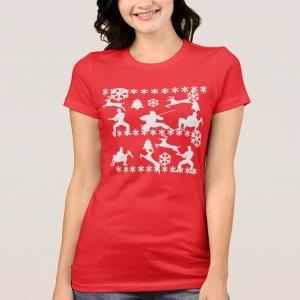 ninjas and reindeer ugly christmas shirt